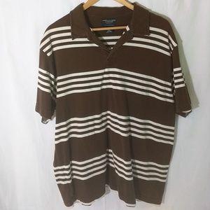 Men's American Eagle Polo Shirt Brown & White XL
